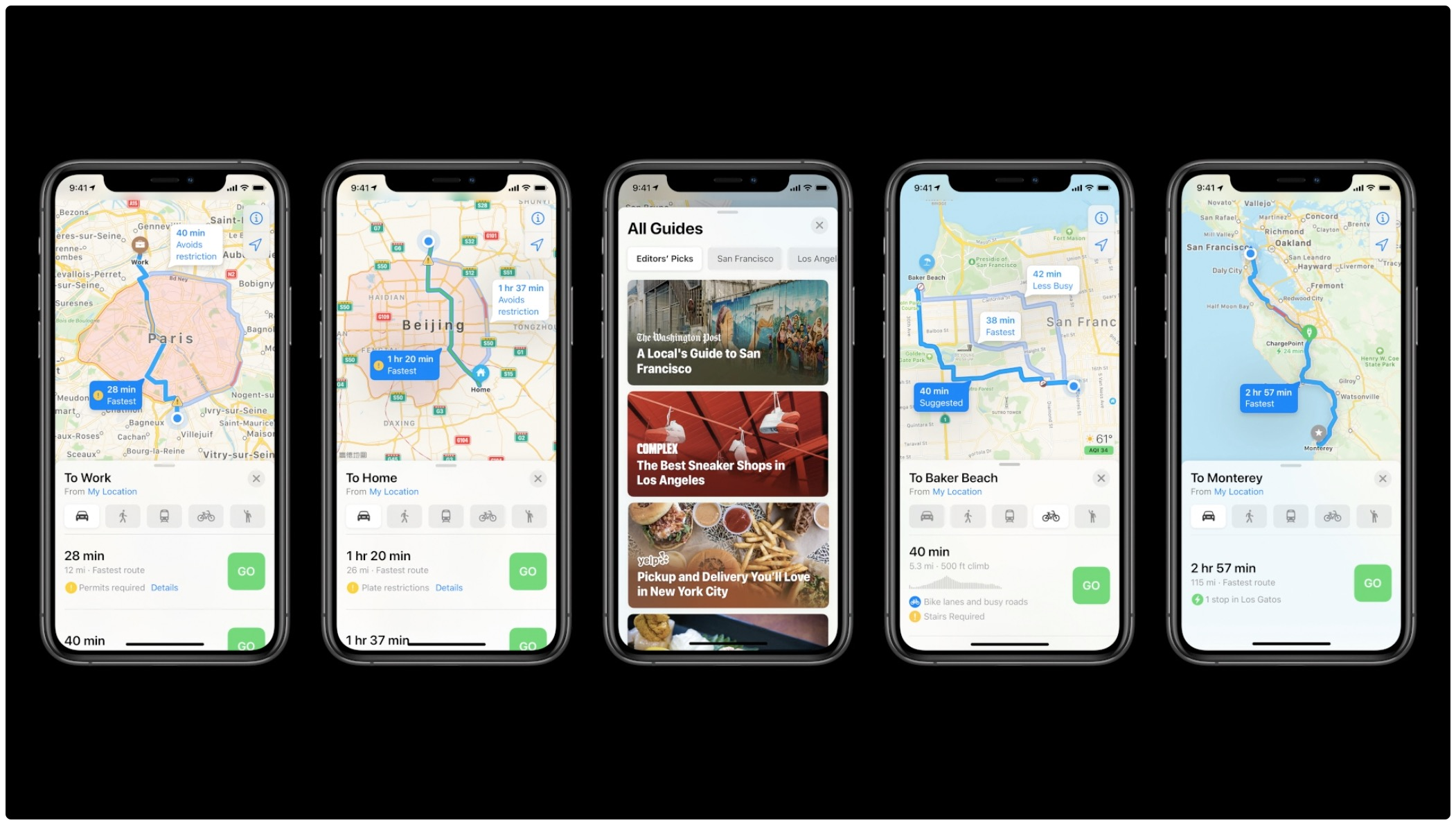 Apple Maps electric vehicle routing