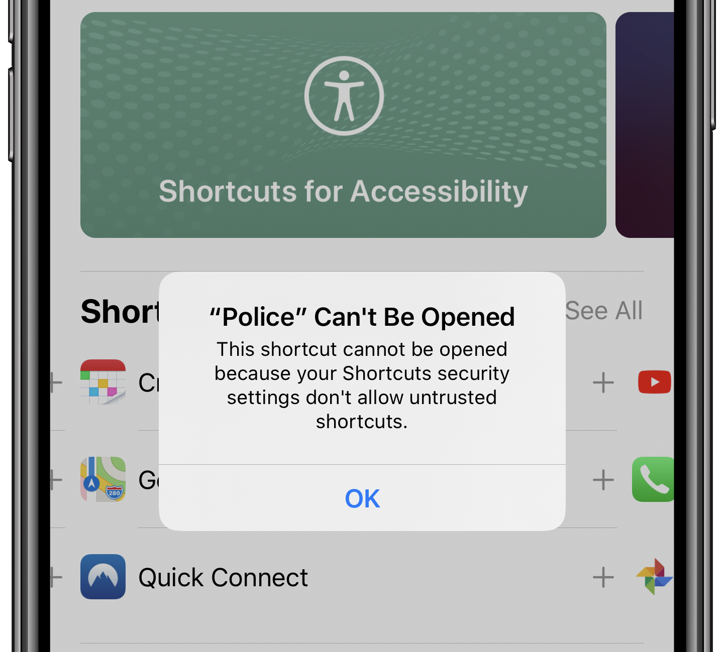 allow untrusted shortcuts on iPhone