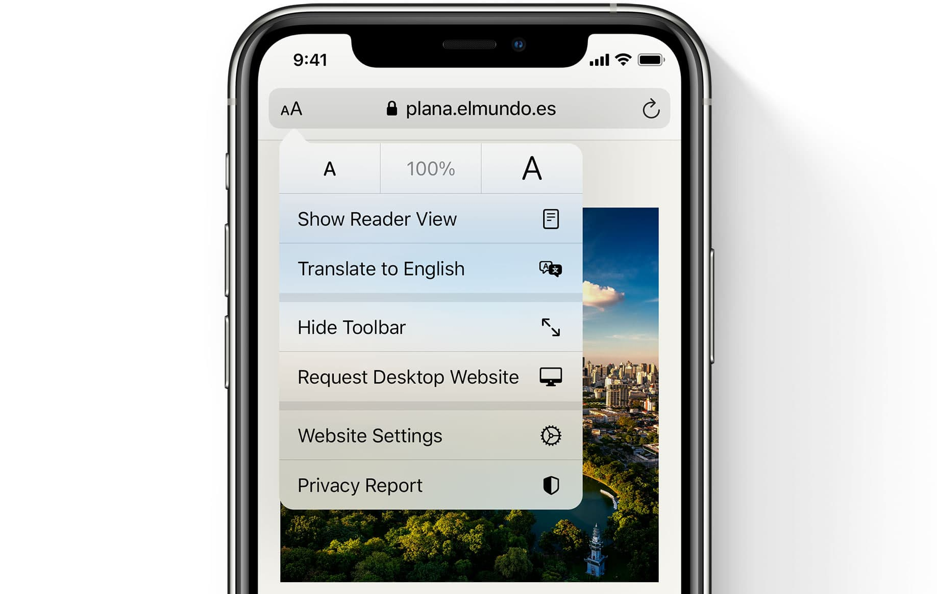 Apple Safari translation webpage iPhone