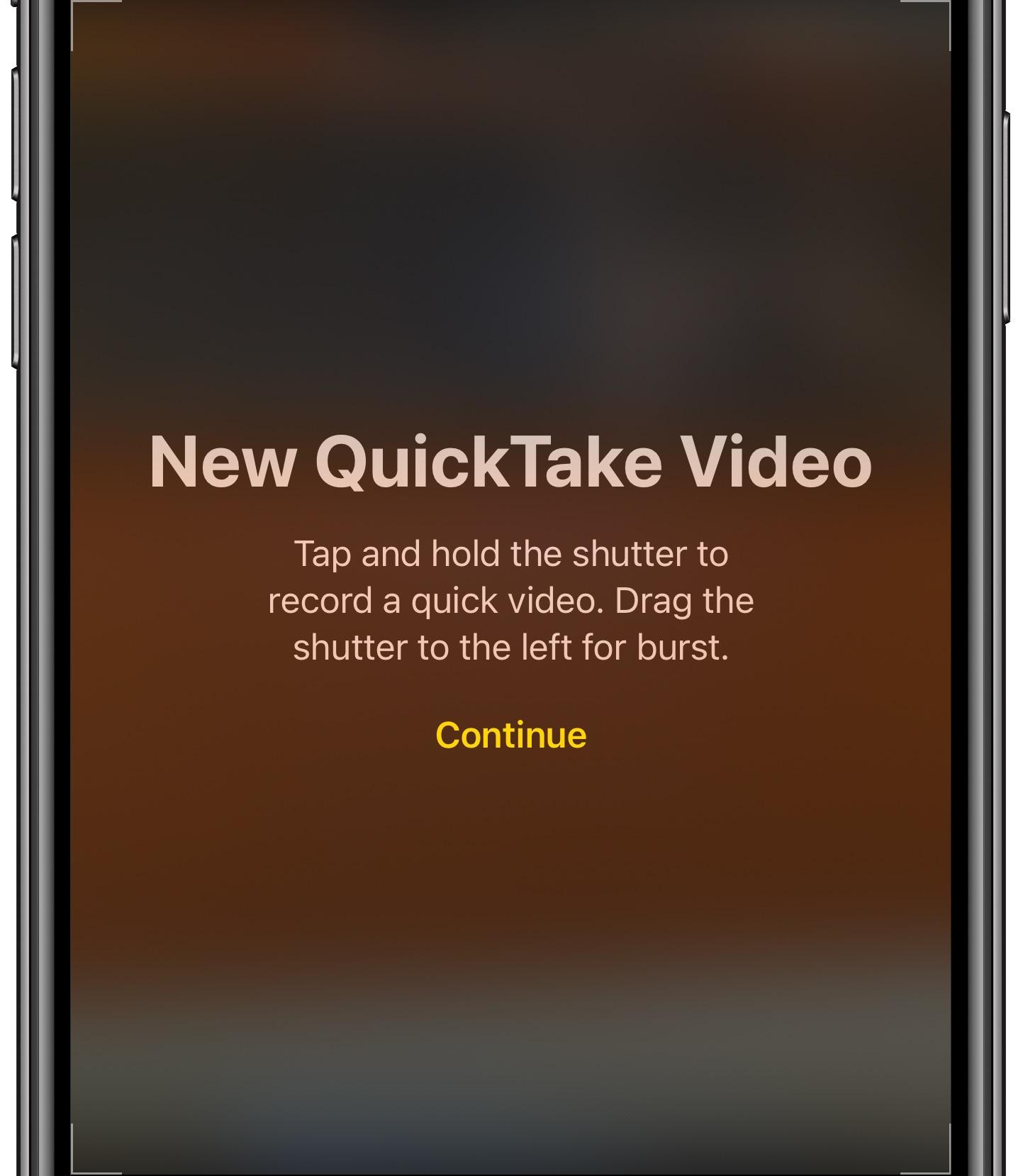 QuickTake video - iPhone camera splash screen