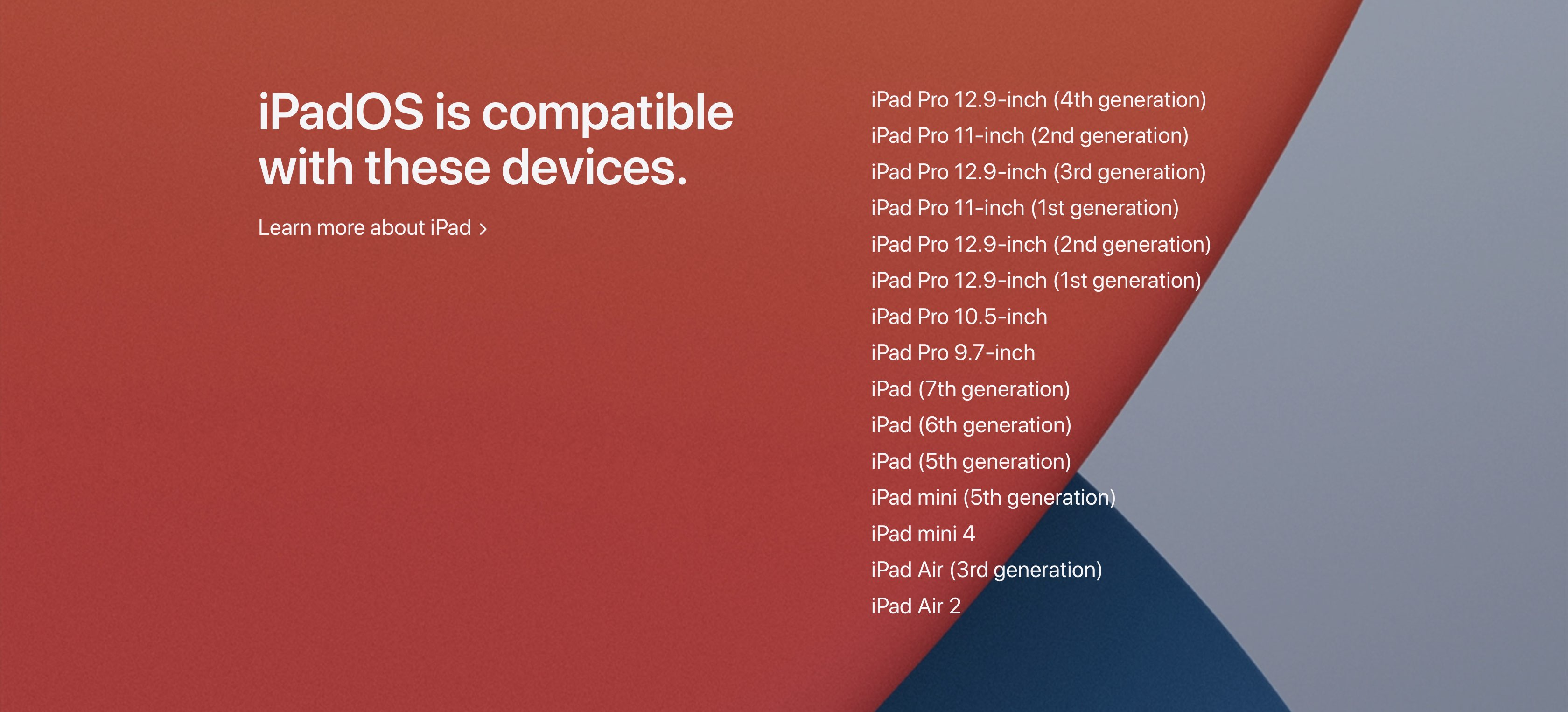 iPadOS 14 system requirements iPad device compatibility list