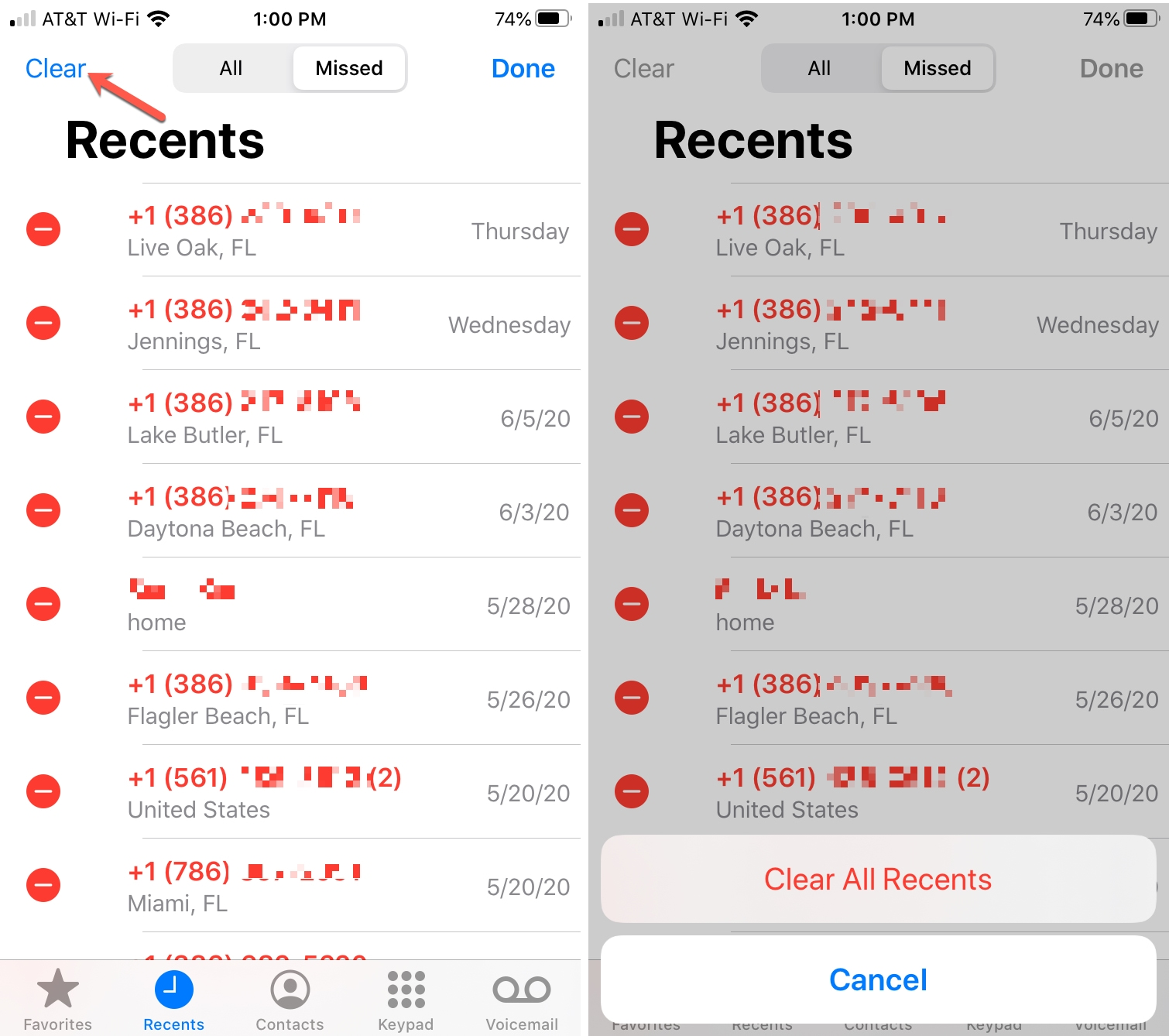 iPhone Clear All Recents History