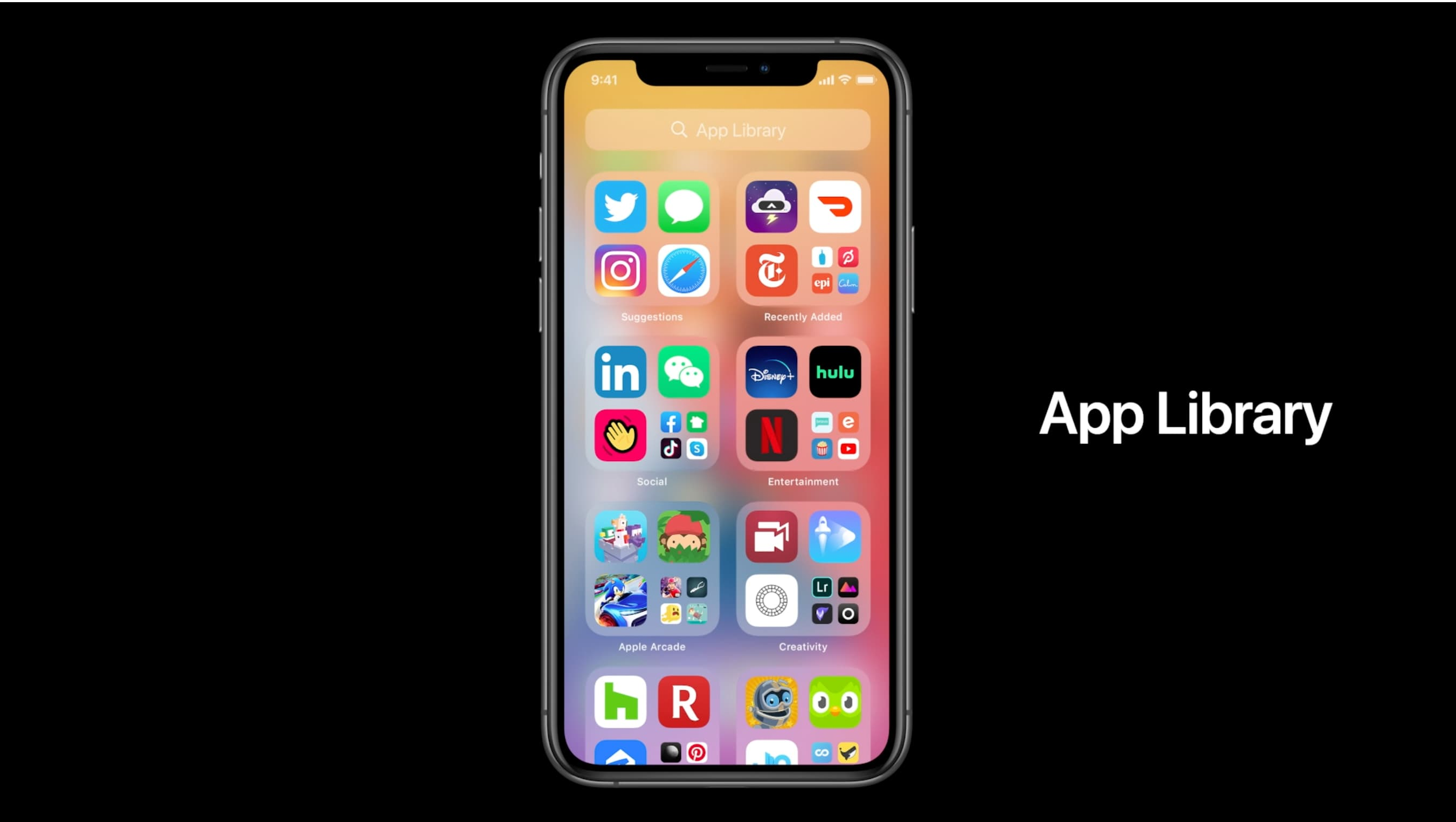iPhone app downloads - App Library WWDC 2020 introductory slide