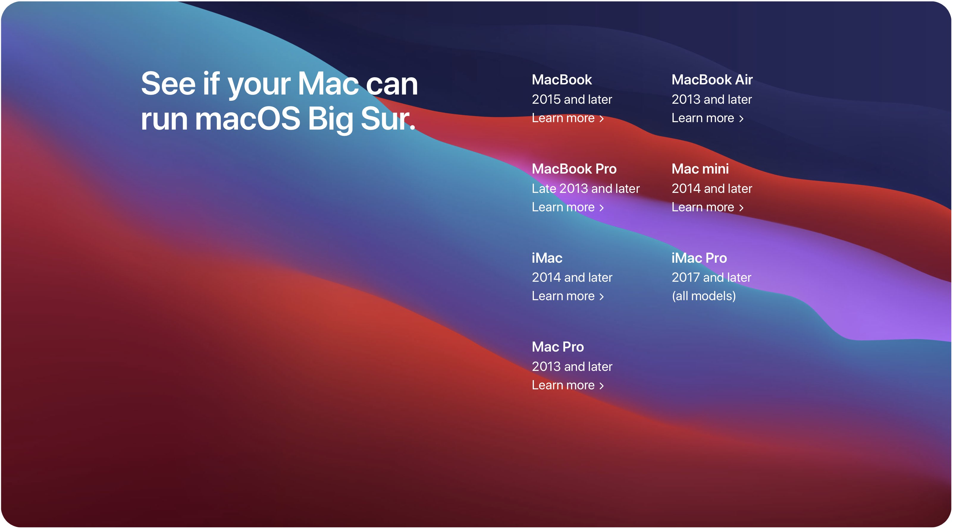 macOS 10.16 Big Sur system requirements Mac device compatibility list