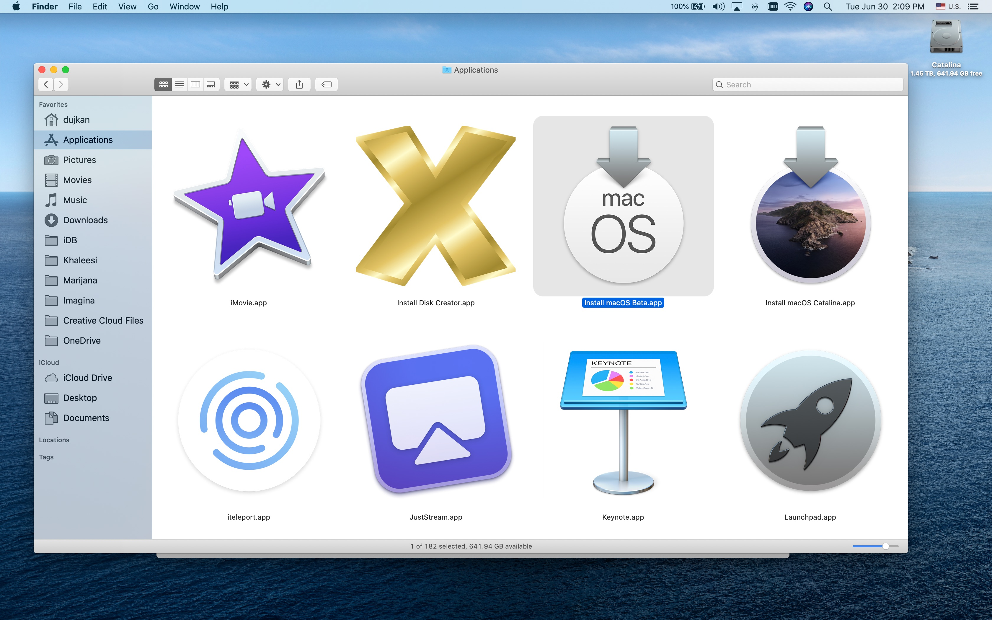 The install macOS Beta icon highlighted in the Applications folder