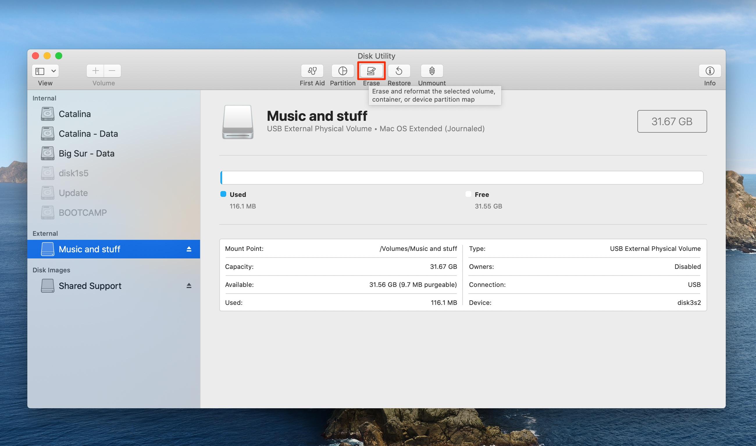 Disk Utility - erase disk highlighted