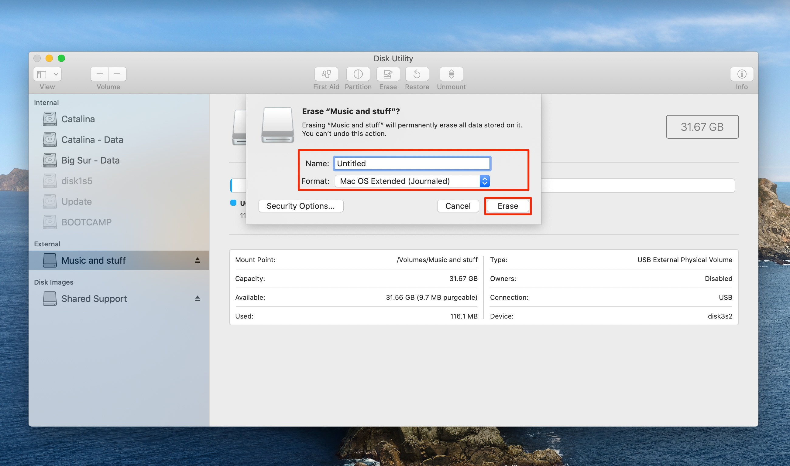 Disk Utility - formatting options for the bootable installer