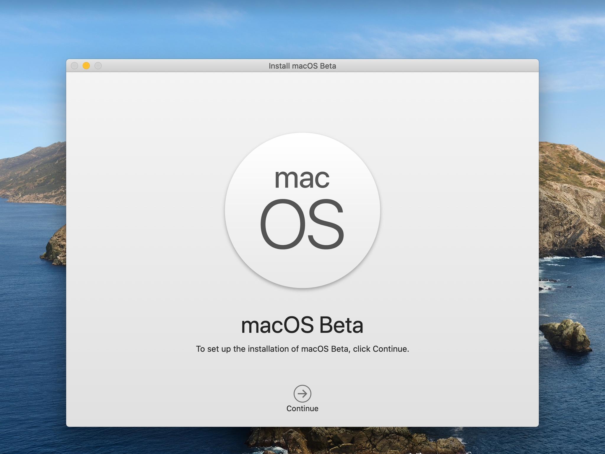 macOS Beta installer - splash screen