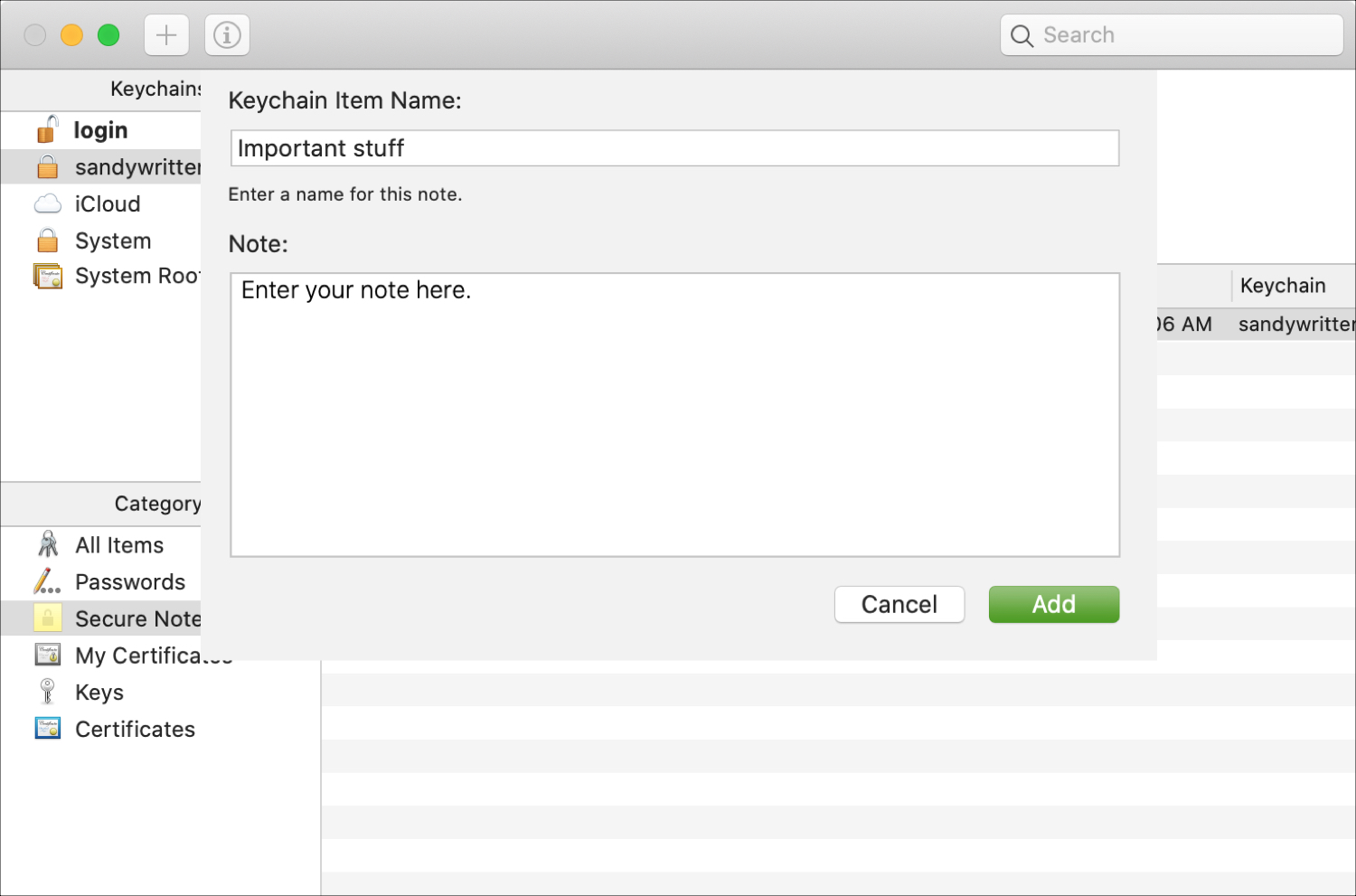 Add Secure Note Keychain Access
