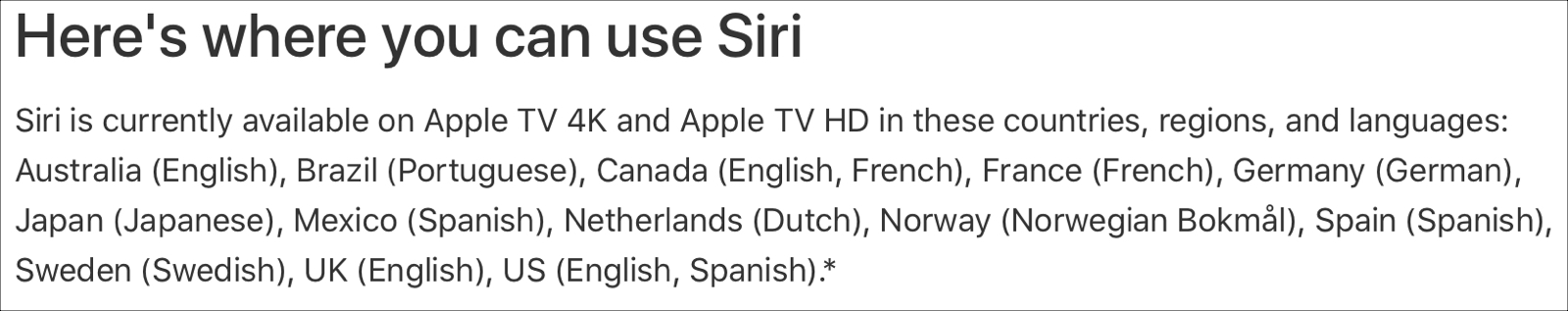 Apple Siri Supported Regions