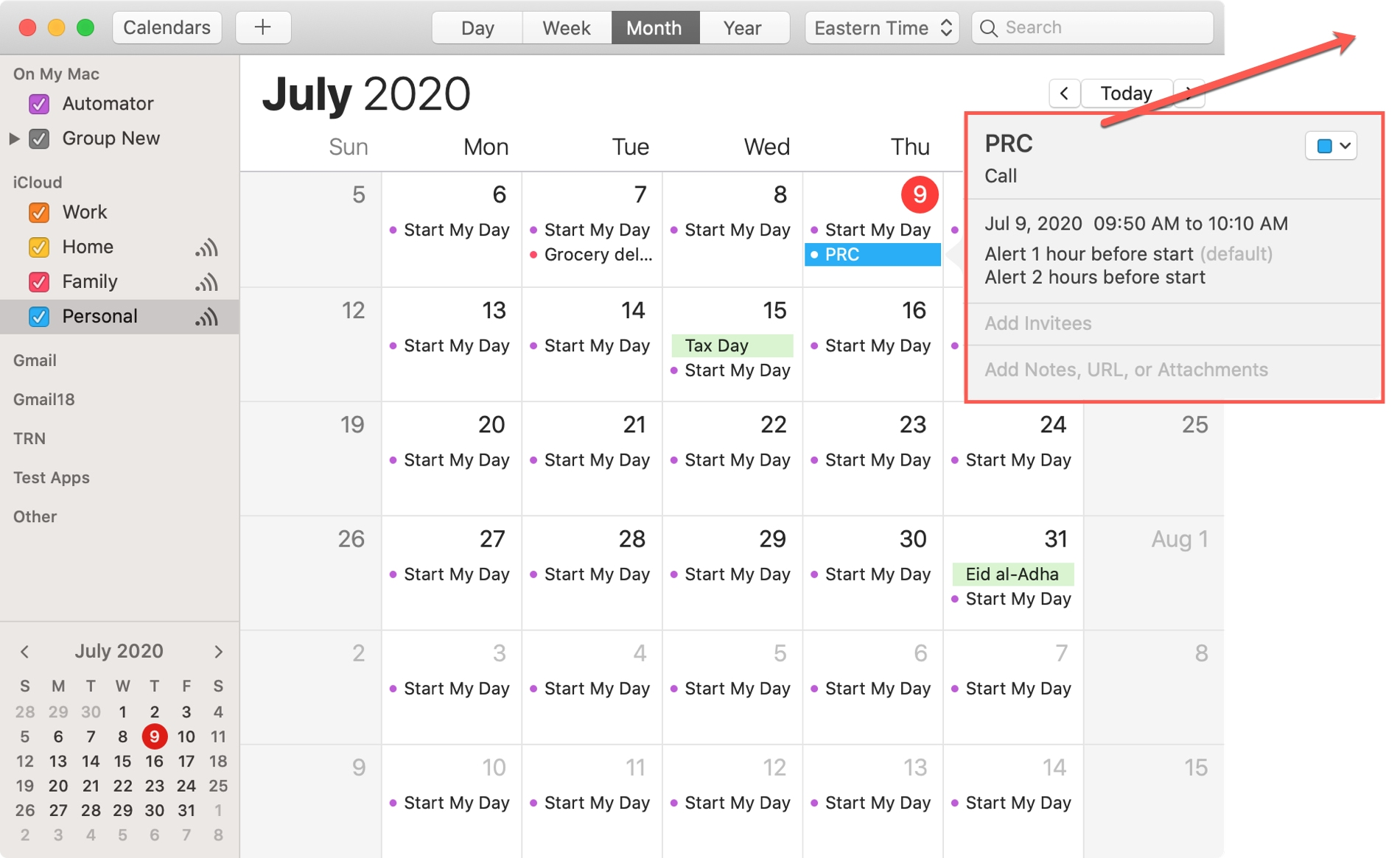 Calendar Event Drag Mac
