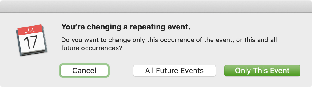 Change Repeating Event Calendar Mac