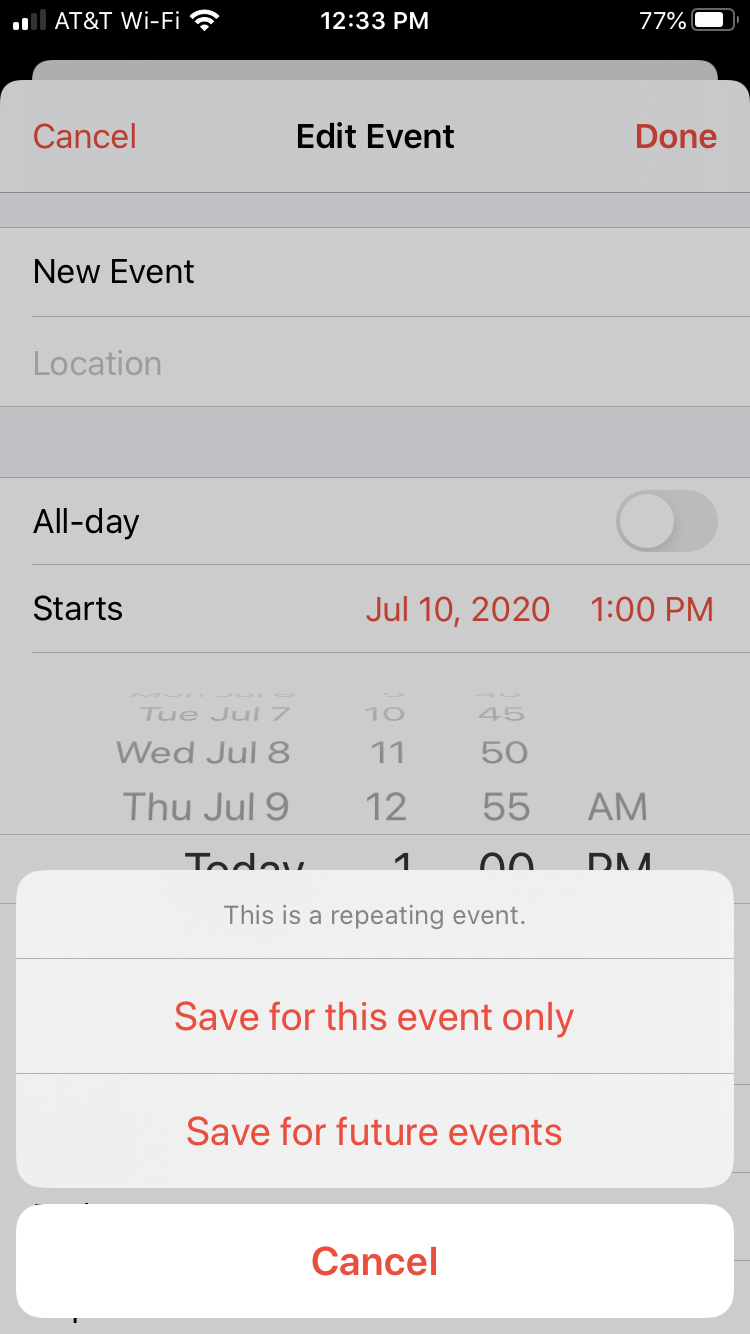 Change Repeating Event Calendar iPhone