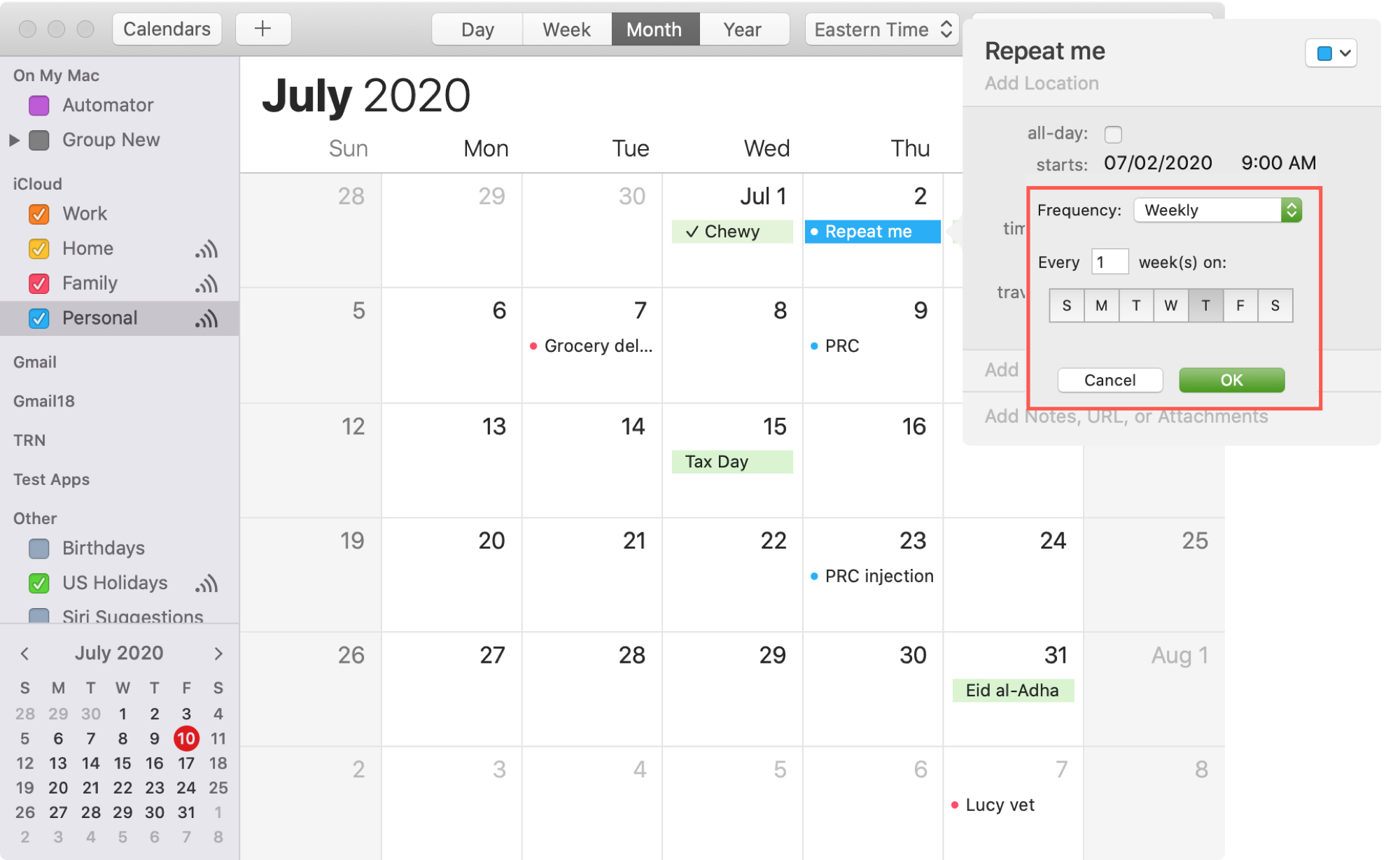 Create Custom Repeating Event Calendar Mac