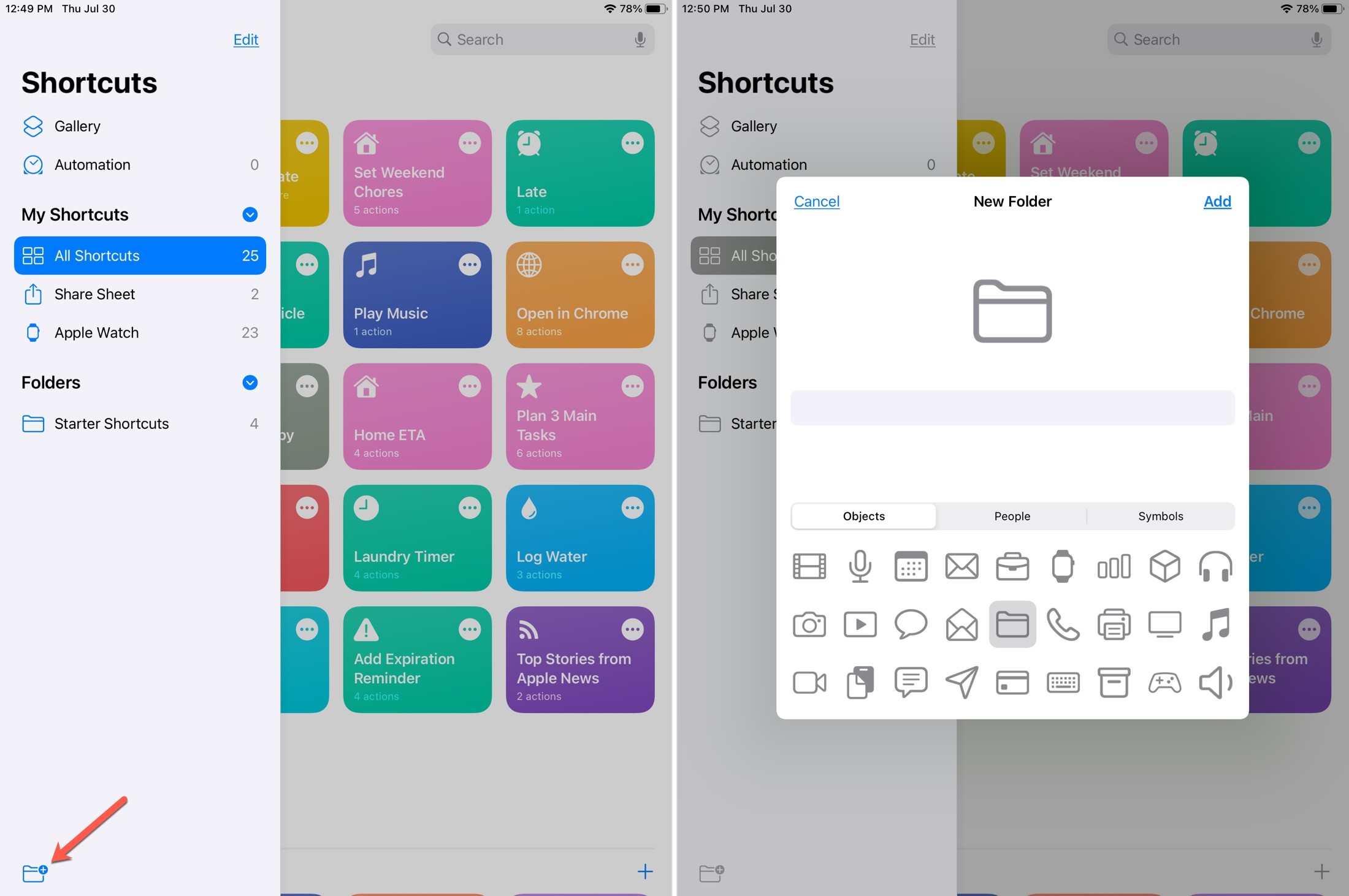 Create Folder Shortcuts iPad