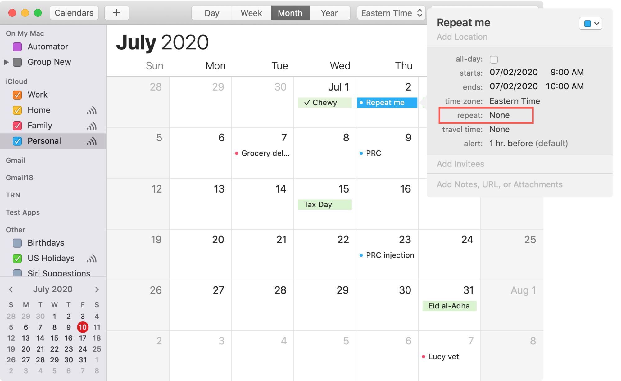 Create Repeating Event Calendar Mac
