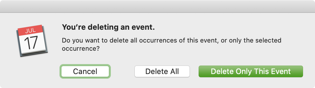 Delete Repeating Event Calendar Mac