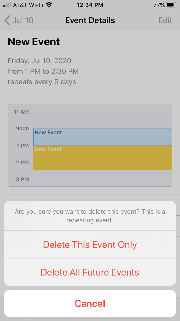 Delete Repeating Event Calendar iPhone