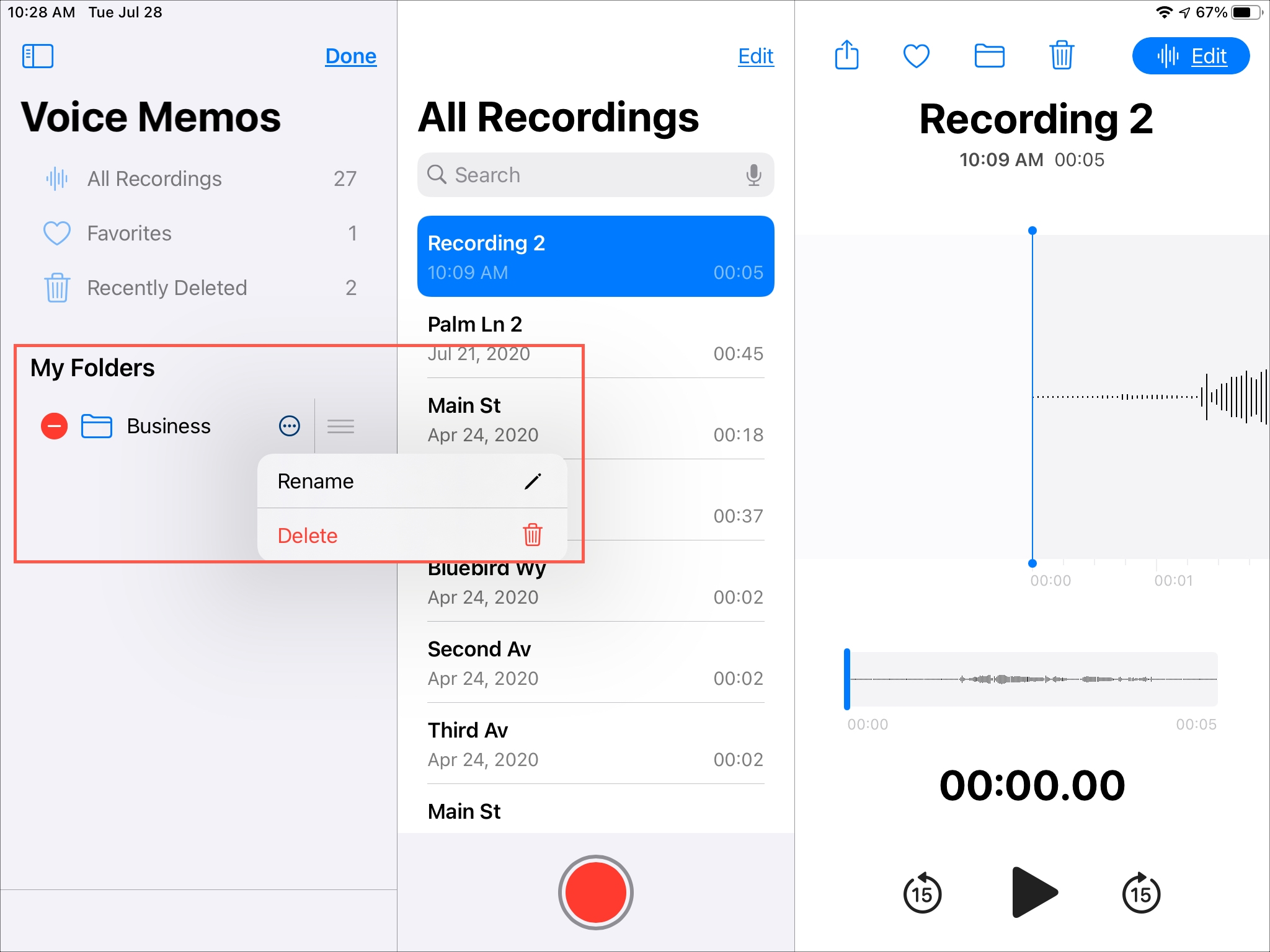 Edit Folder Voice Memos iPad
