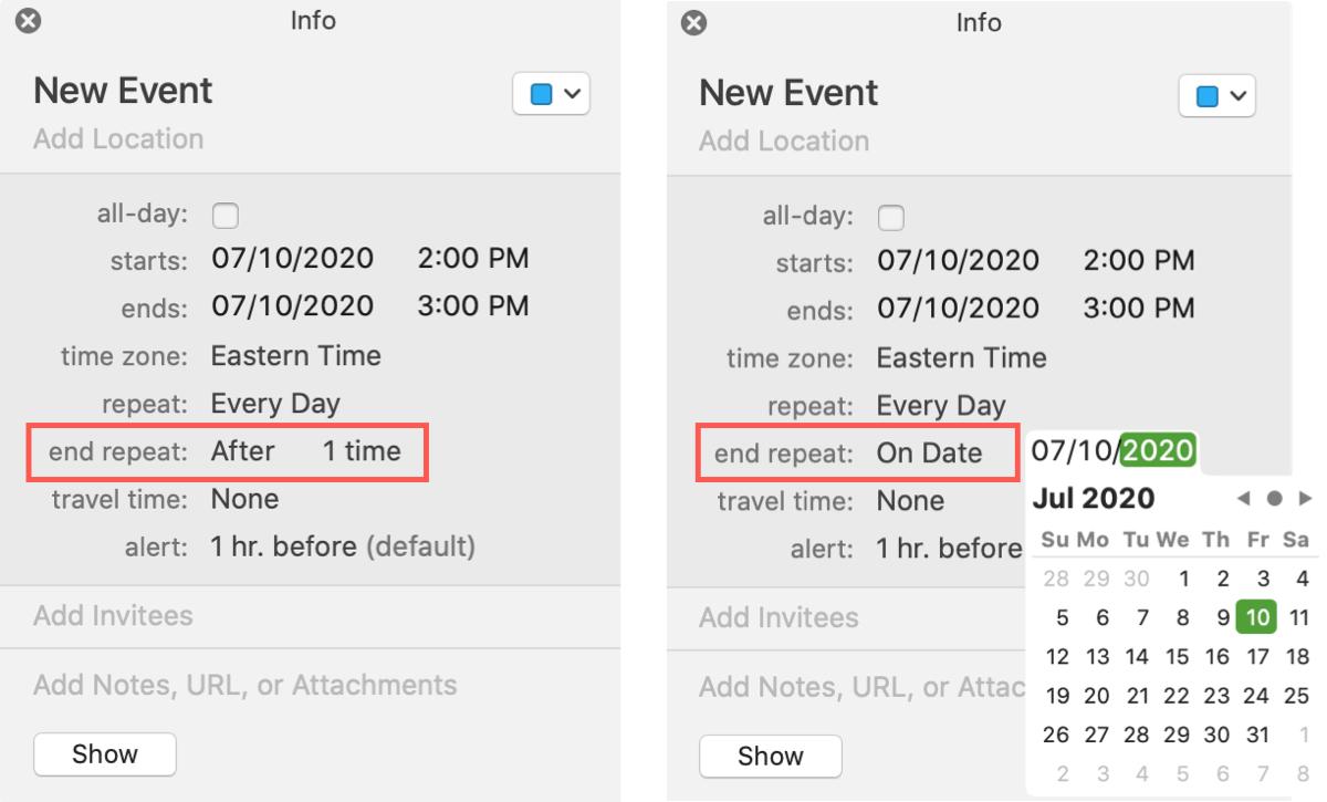 End Repeating Event Calendar Mac