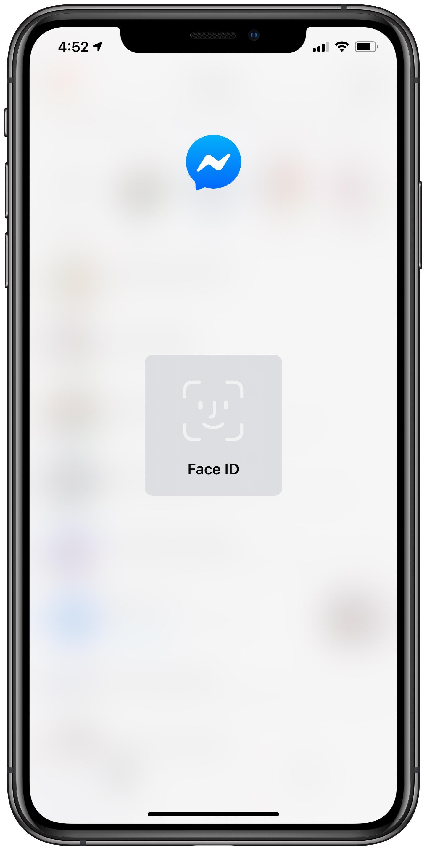 Facebook Messenger Face ID - blurred screen