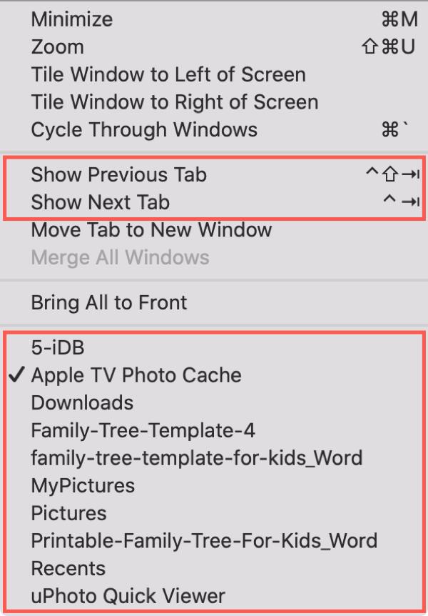 Finder Window Menu Tabs