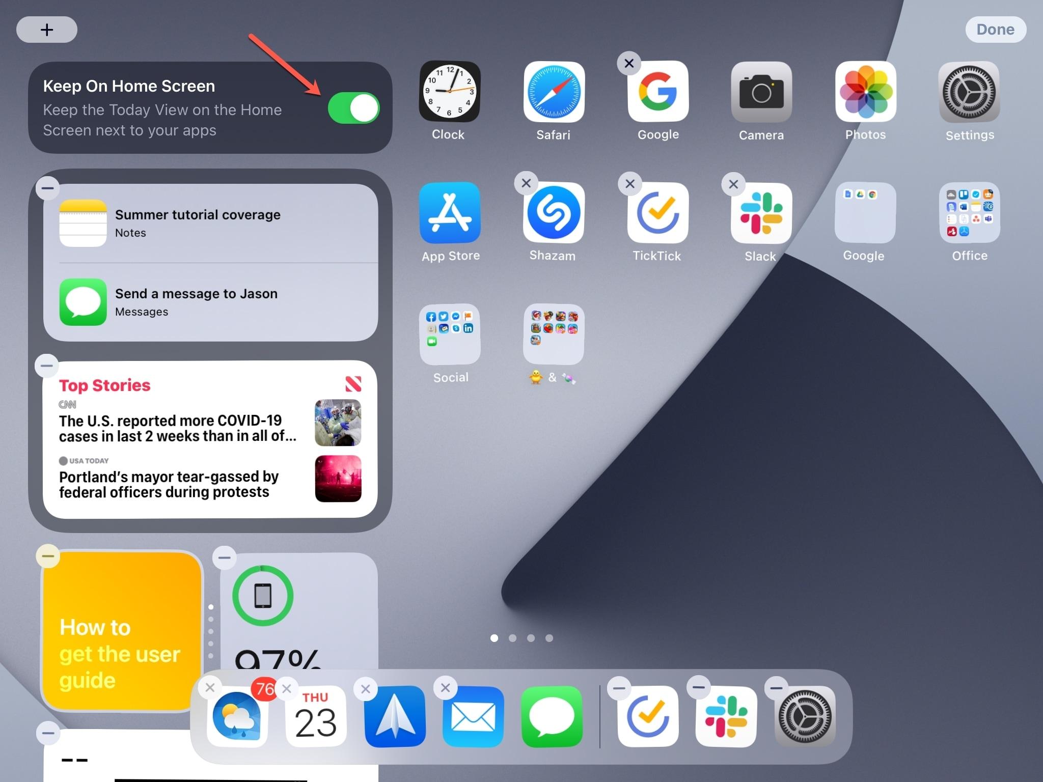 Keep on Home Screen Today View iPad