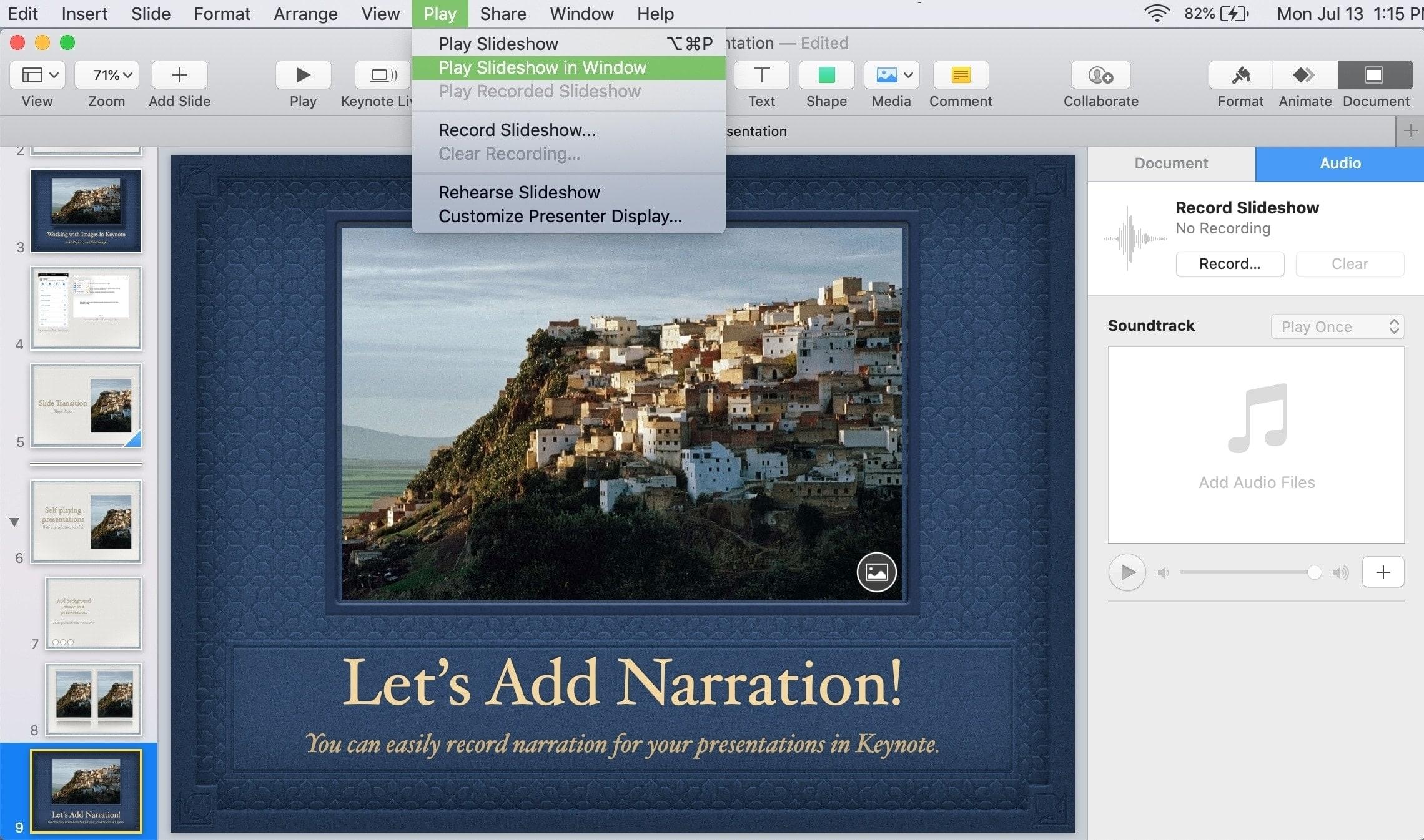 Keynote Mac Play Slideshow in Window