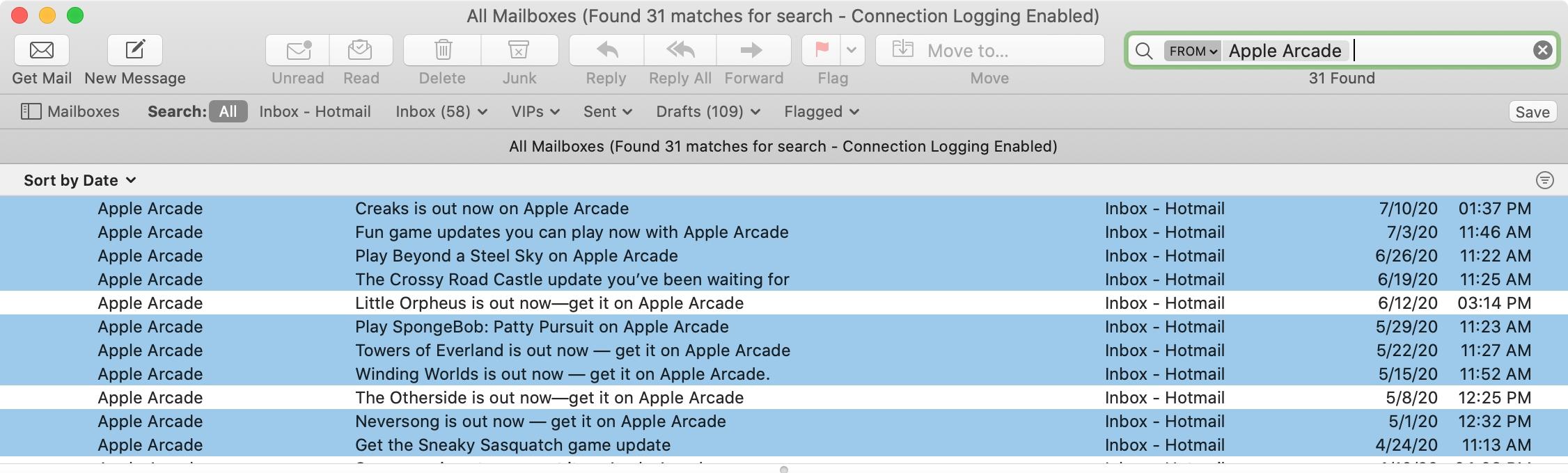 Mac Mail Search Apple Arcade