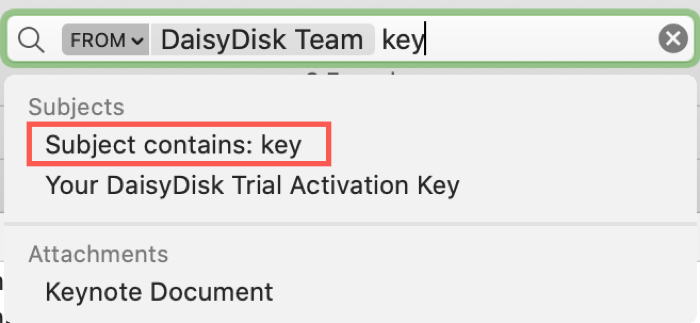 Mail Search Filters From Key
