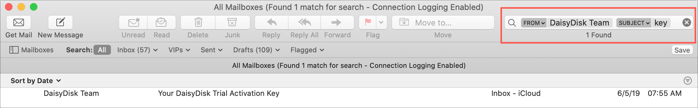 Mail Search Filters From Subject Key