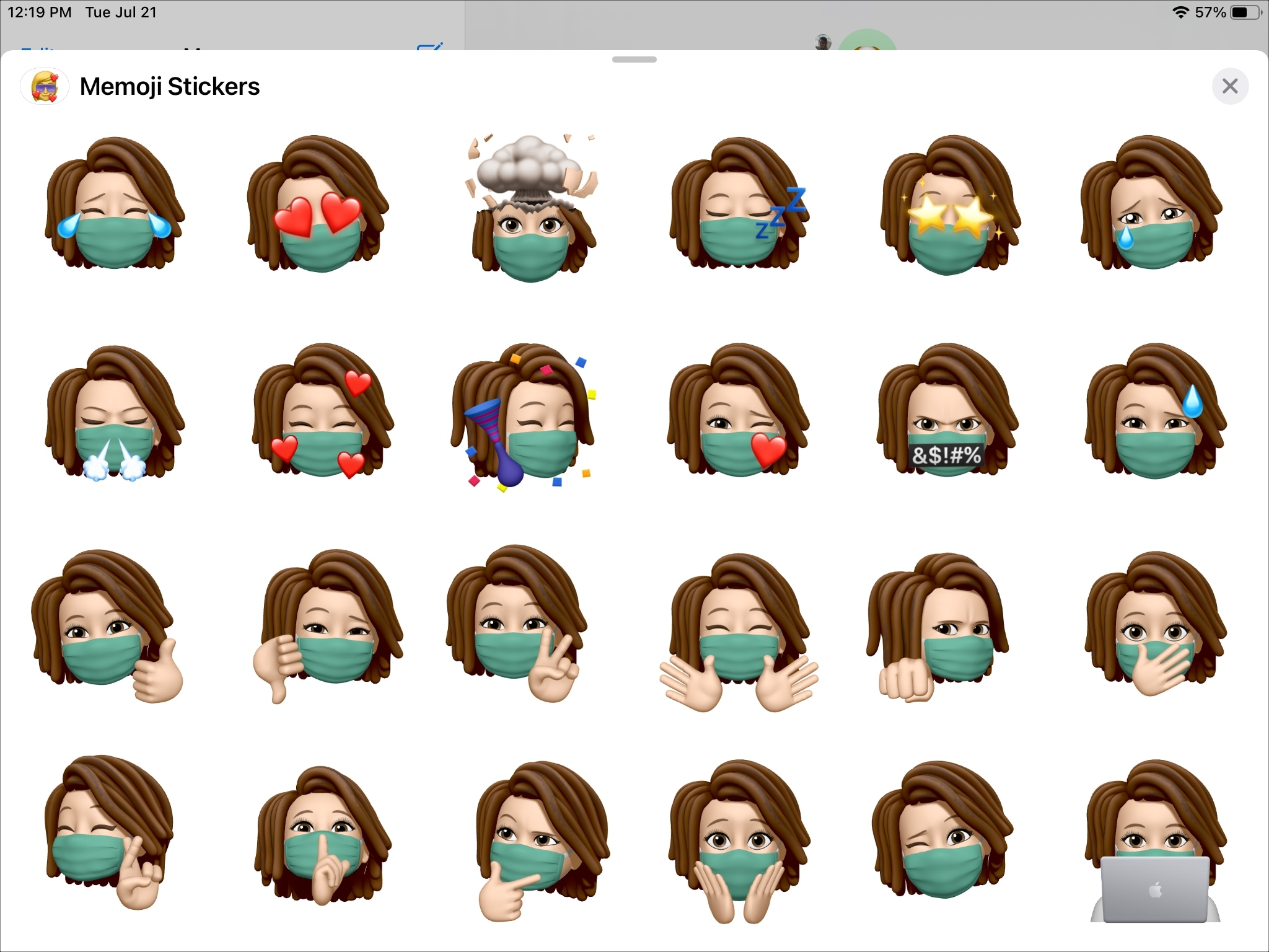 Memoji With Face Covering on iPad