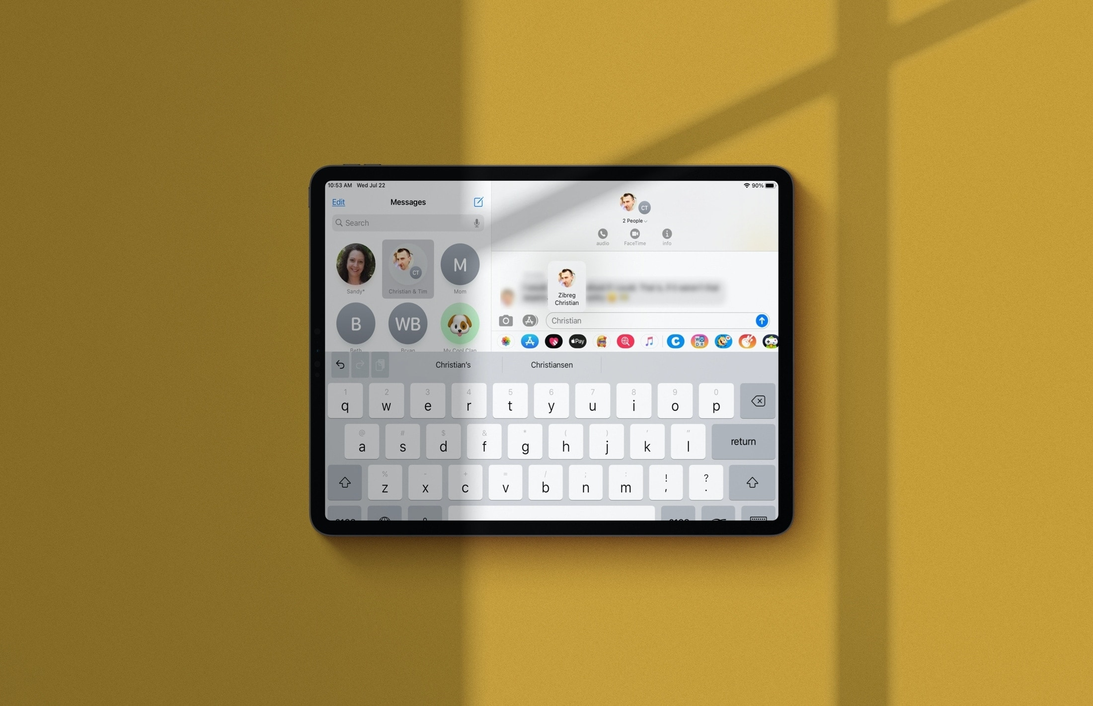 iOS 14 Messages - people mentions in group conversations on iPad