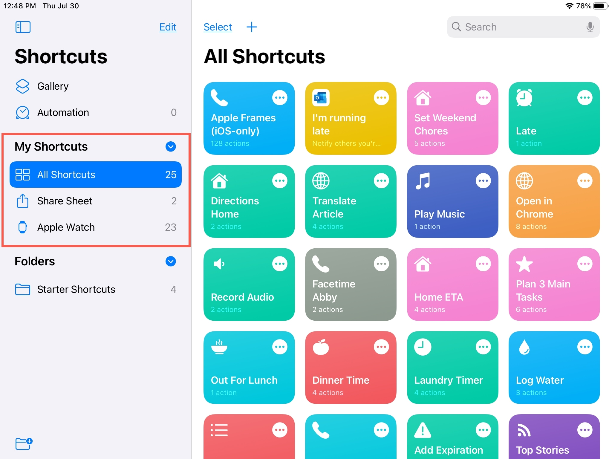My Shortcuts Premade Folders iPad