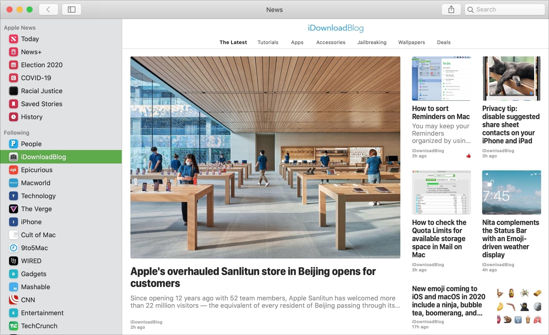 News App on Mac iDB Channel