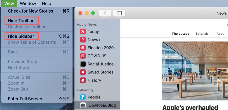 News Hide Toolbar Sidebar