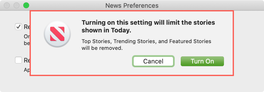 News Preferences Turn On Today Limit