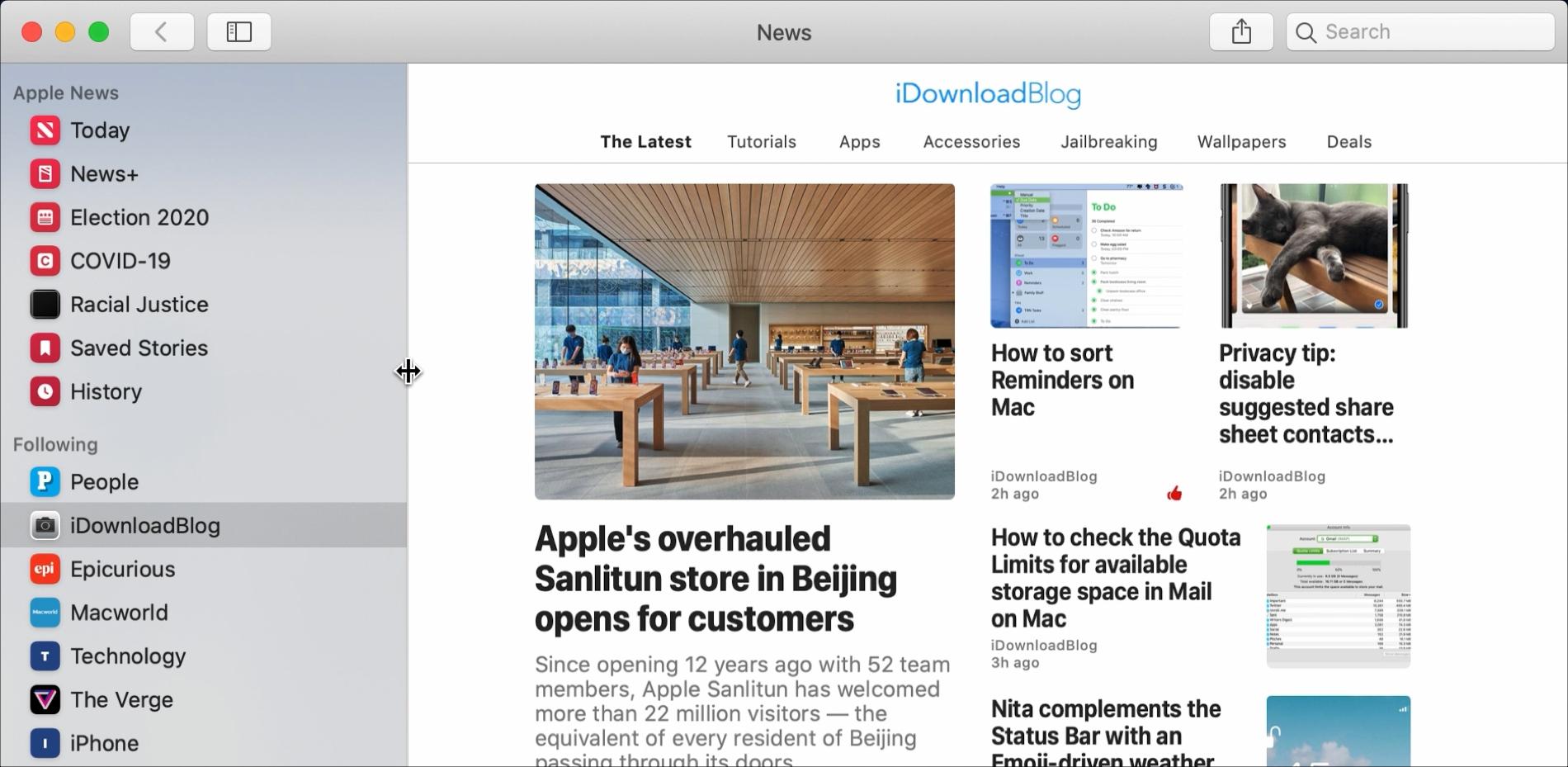 News Resize Sidebar
