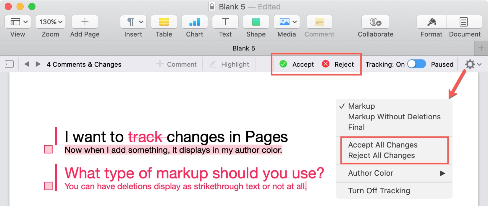 Pages Mac Accept Reject All Changes