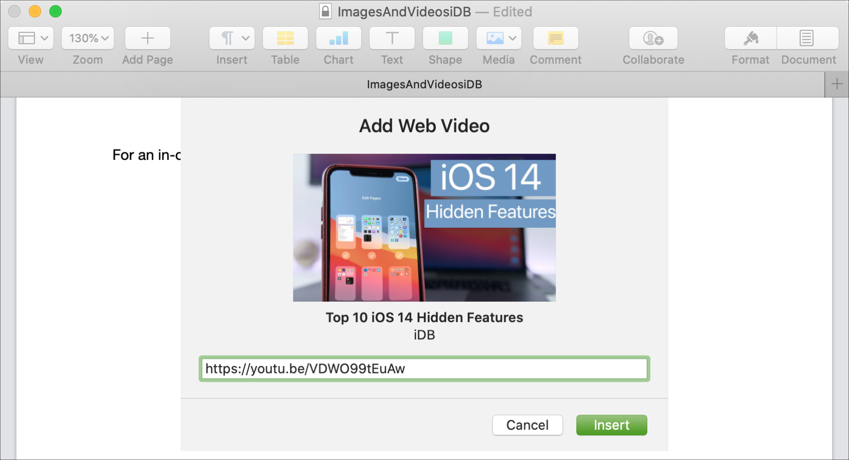 Pages Mac Added Video URL