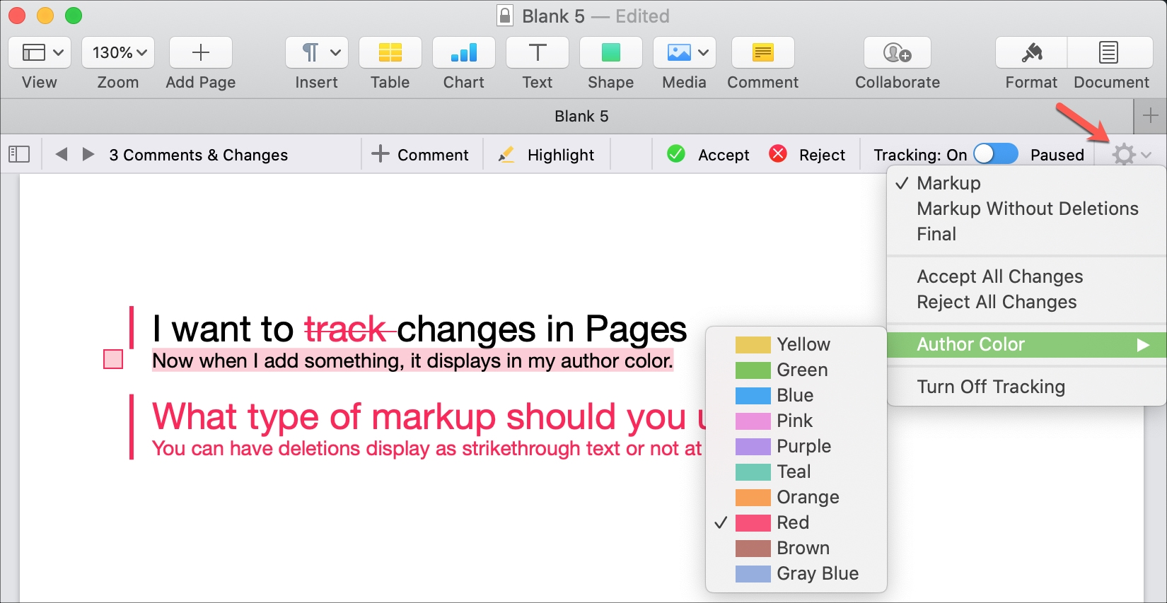 Pages Mac Change Author Color