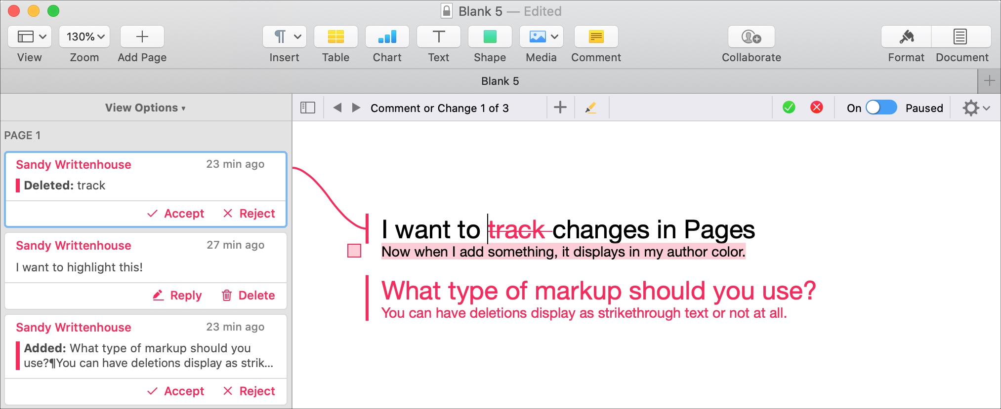 Pages Mac Comments and Changes Pane Connect