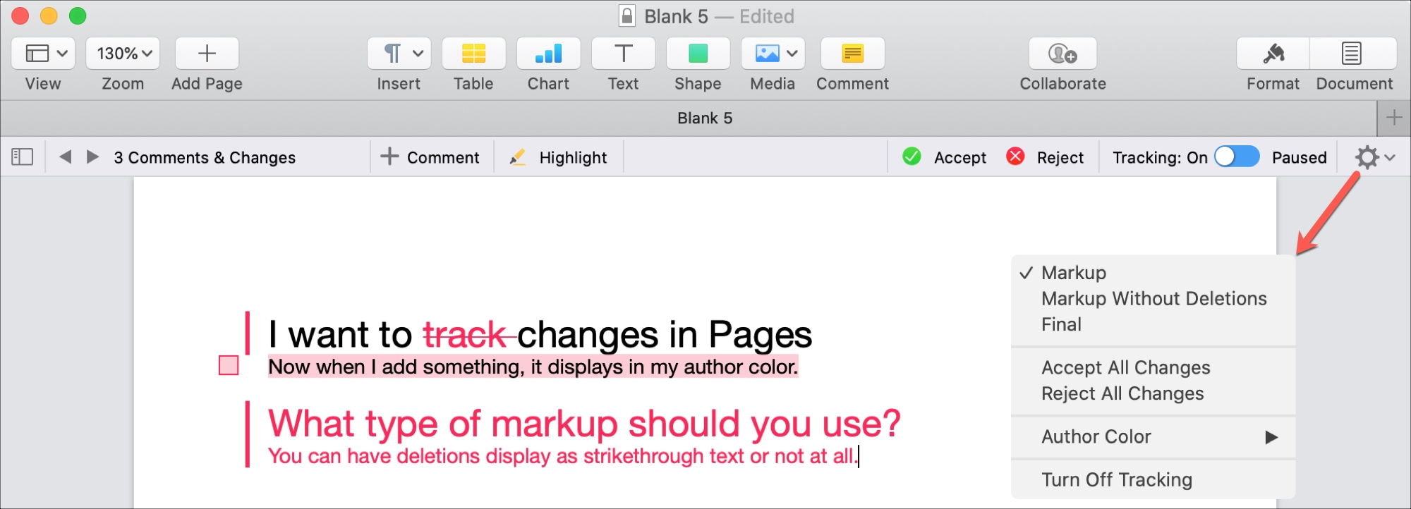 Pages Mac Select Markup