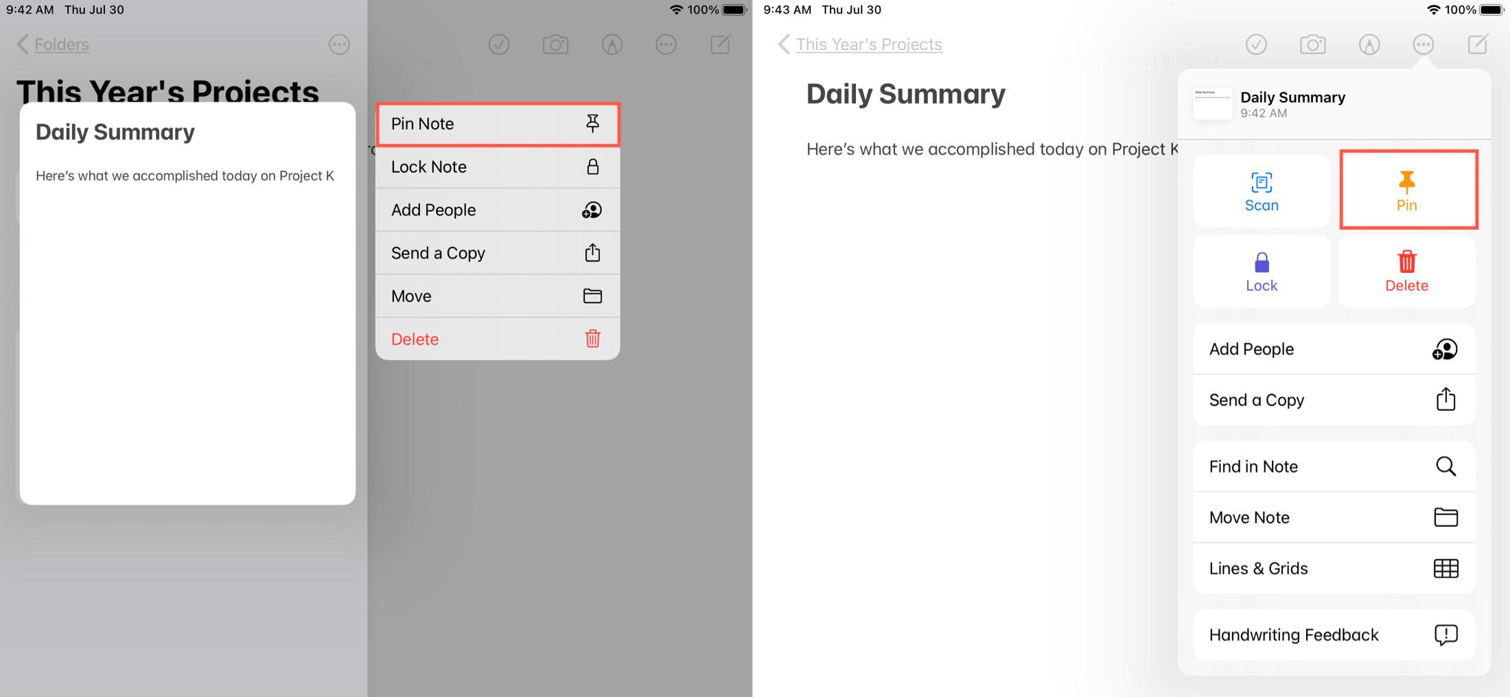 Pin a Note Shortcut Actions iPad