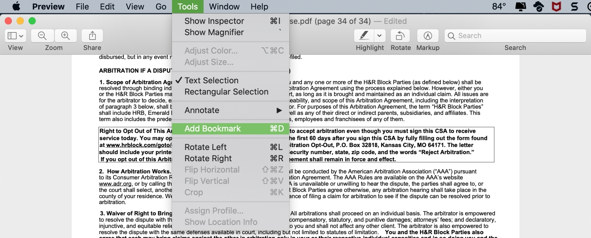 Preview Add Bookmark to PDF