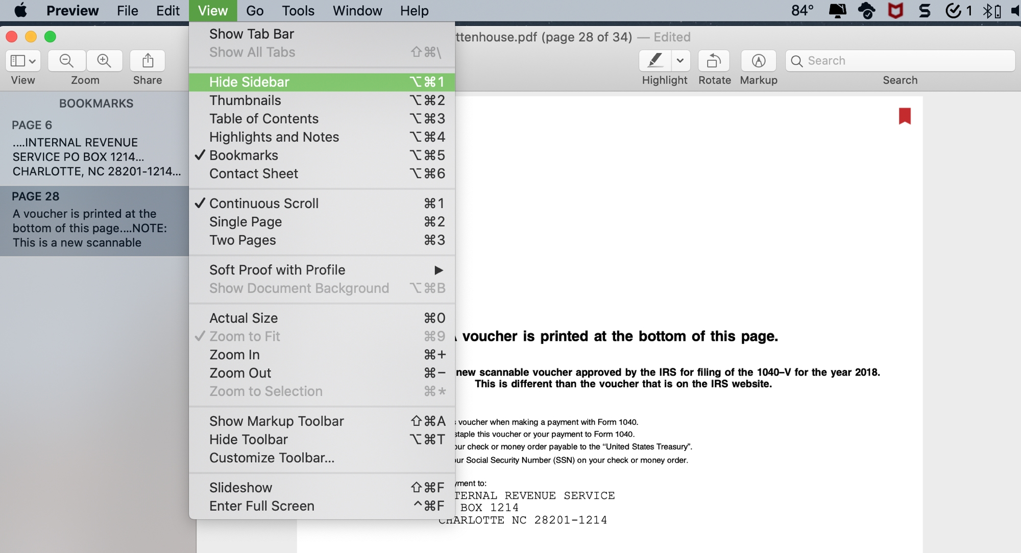 Preview Hide Sidebar for Bookmarks