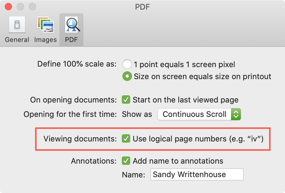 Preview PDF Use Logical Numbering