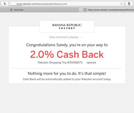 Rakuten Cash Back Safari Banana Republic