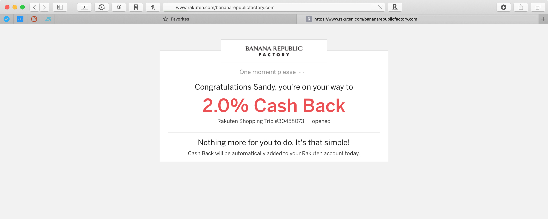 Safari Shopping Extensions - Rakuten Cash Back Safari Banana Republic