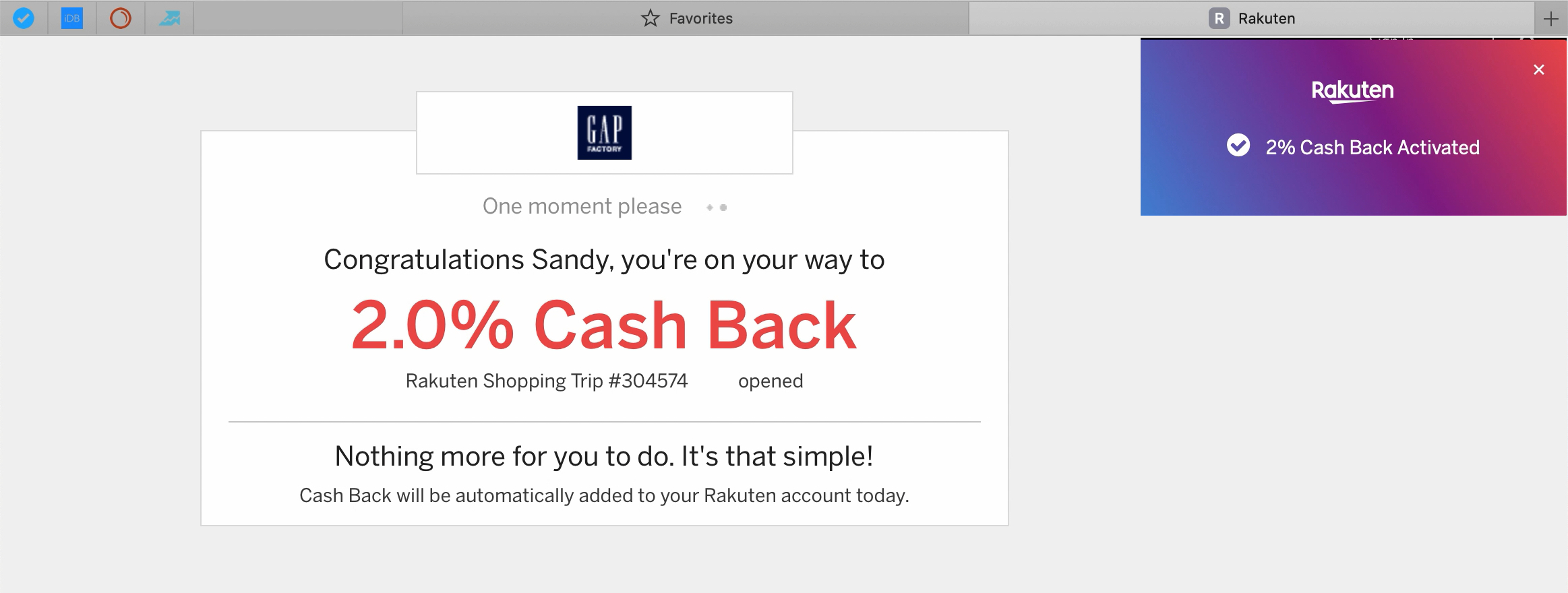 Rakuten Cash Back Safari Shop Discount